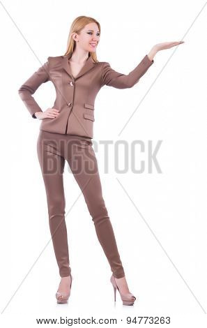 Young business woman holding isolated on white