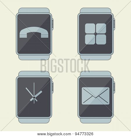 Smart Watches Icon Set