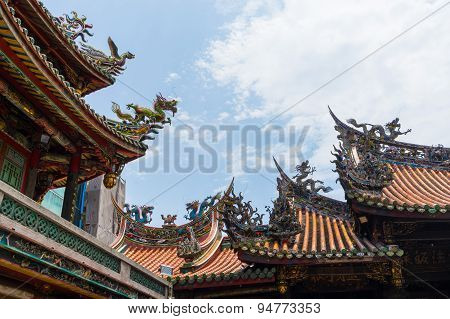 Dragon From The Roof Of Longshan Temple In Taipei, Taiwan