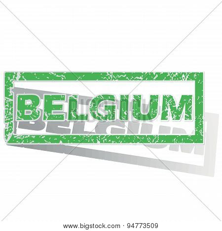 Green outlined Belgium stamp