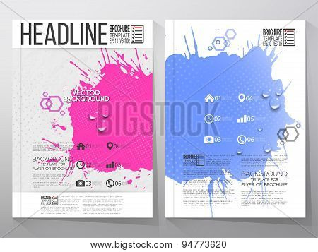 Abstract hand drawn spotted blue-pink background with empty place for text message, grunge style ill