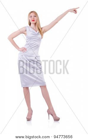 Beautiful blond in elegant dress isolated on white