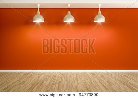 3D rendering of an empty red room with three lamps