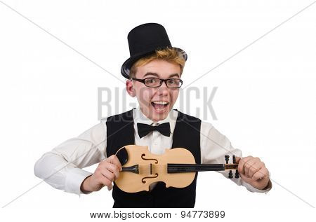 Funny  violin player isolated on white