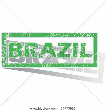 Green outlined Brazil stamp