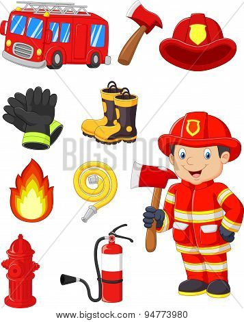 Cartoon collection fire equipment