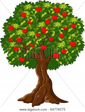 Cartoon Green Apple tree full red apples