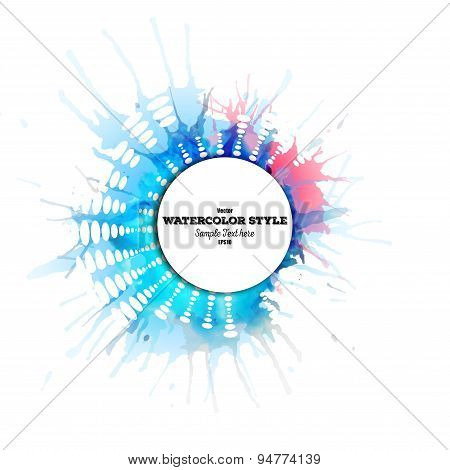 Abstract circle white banner with place for text and watercolor stains. Colorful background, busines