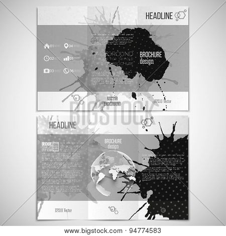 Vector set of tri-fold brochure design template on both sides with world globe element. Abstract han