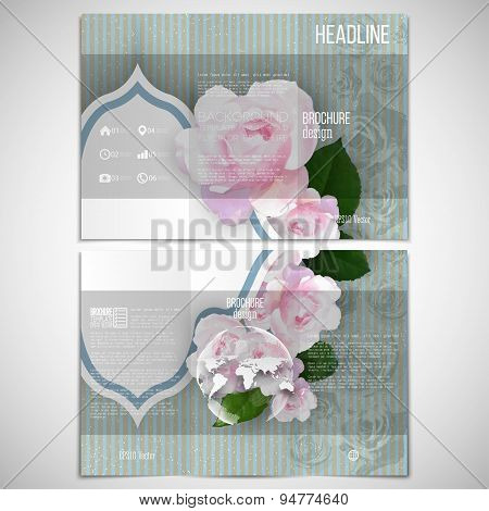 Vector set of tri-fold brochure design template on both sides with world globe element. Pink flowers