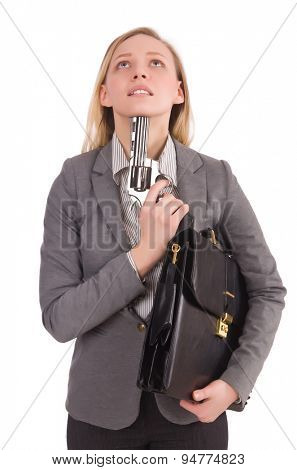 Pretty office employee with briefcase and handgun isolated on white