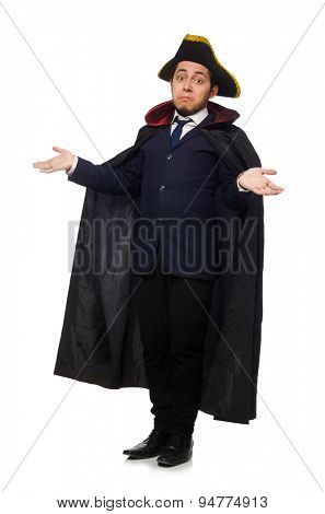 Young man wearing tricorn and coat isolated on white