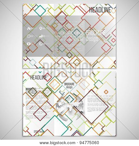 Vector set of tri-fold brochure design template on both sides with world globe element. Abstract col
