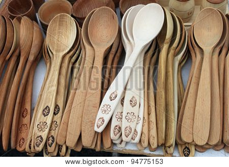 different wooden spoons