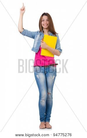 Student girl with books isolated on white