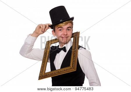 Young gentleman holding frame isolated on white