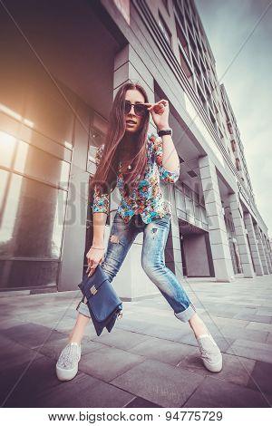 woman walking in the city