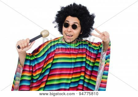 Funny mexican wearing poncho with maracas isolated on white