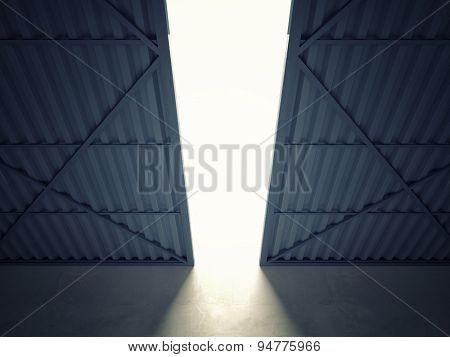 3d image of huge hangar doors