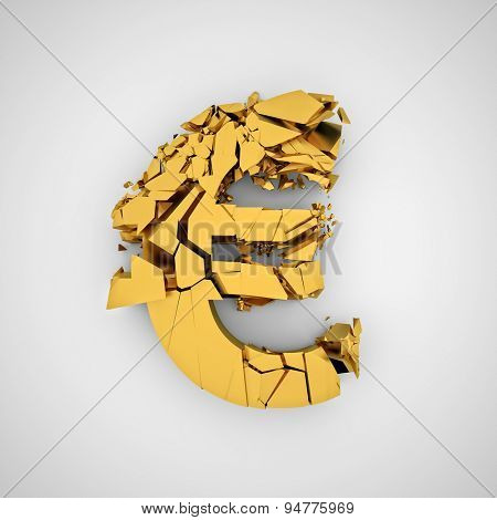 3d image of broken euro symbol