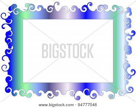 Decorative frame in soft tones blue-green