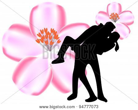 Kissing lovers silhouette with passion