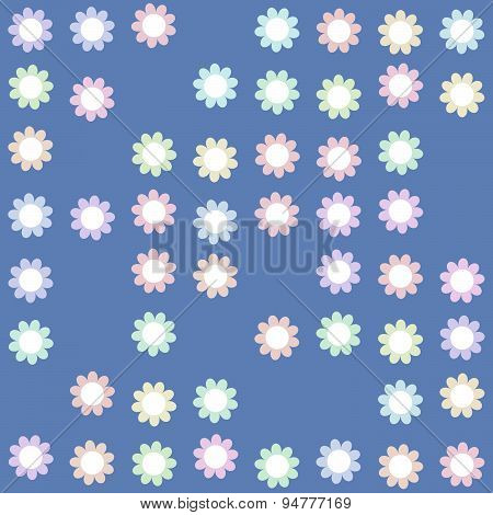 Seamless Pattern With Floral Decor On Blue