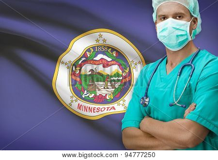 Surgeon With Us States Flags On Background Series - Minnesota