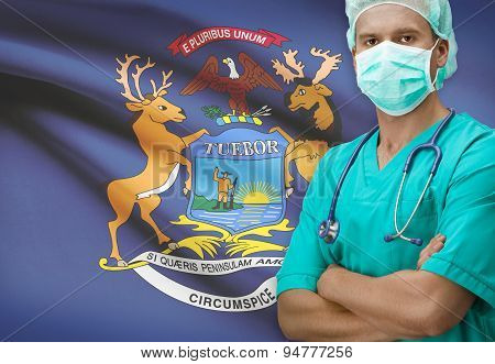 Surgeon With Us States Flags On Background Series - Michigan