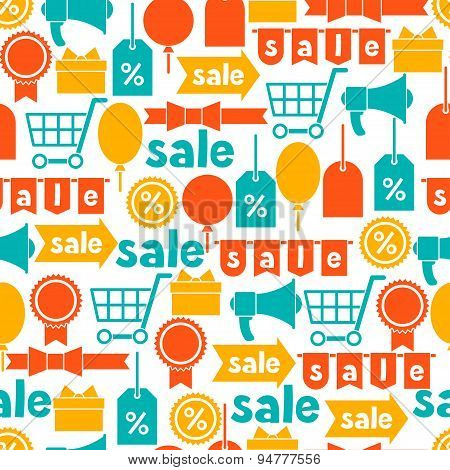 Seamless pattern with sale and shopping icons design elements