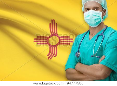 Surgeon With Us States Flags On Background Series - New Mexico
