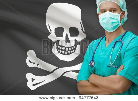 Surgeon With Flags On Background Series - Jolly Roger Flag
