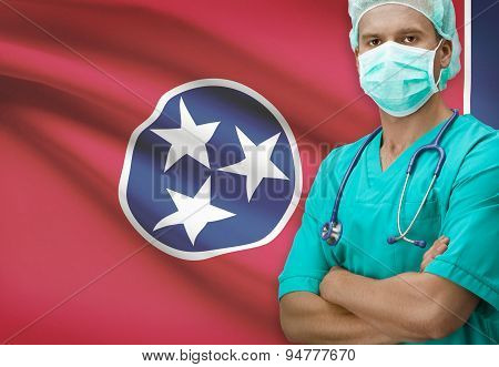 Surgeon With Us States Flags On Background Series - Tennessee