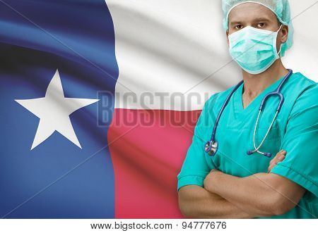 Surgeon With Us States Flags On Background Series - Texas