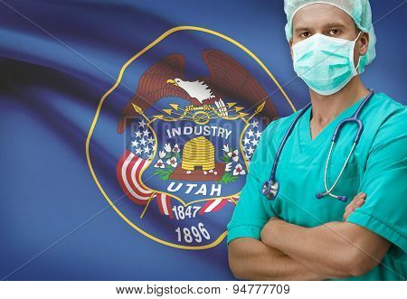 Surgeon With Us States Flags On Background Series - Utah