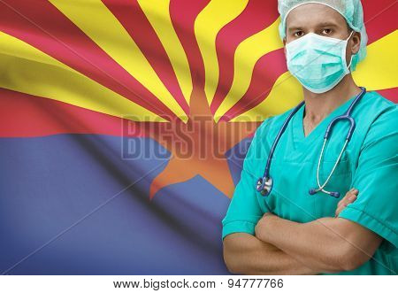 Surgeon With Us States Flags On Background Series - Arizona