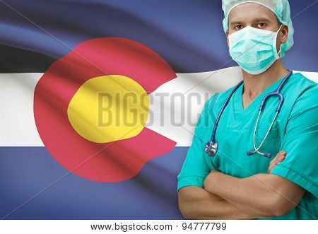 Surgeon With Us States Flags On Background Series - Colorado