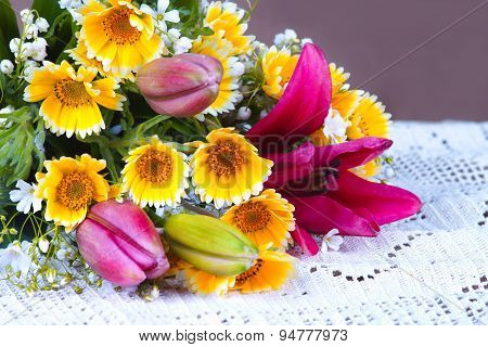 Summer flowers on a tablecloth