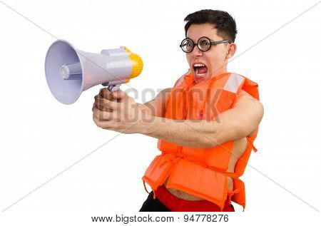 Funny man wearing vest with loudspeaker