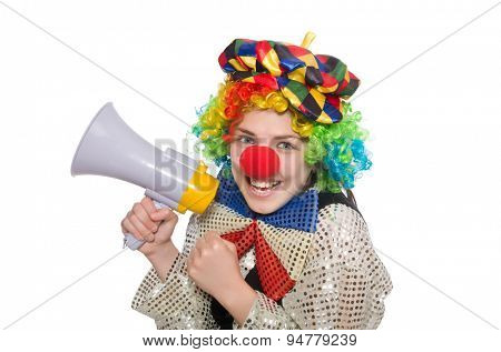 Female clown with megaphone isolated on white