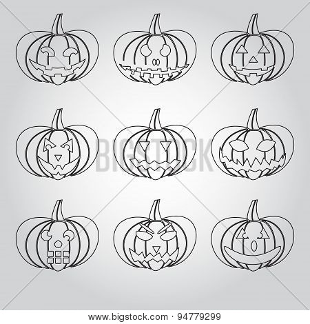 Halloween Carved Pumpkins Outline Icons Set Eps10