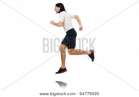 Man exercising isolated on white