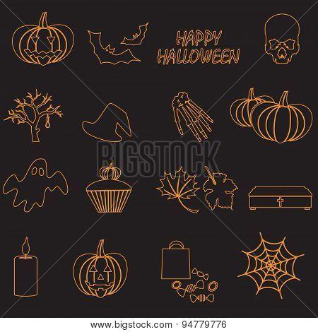 Halloween Orange Color Outline Icons Set Eps10