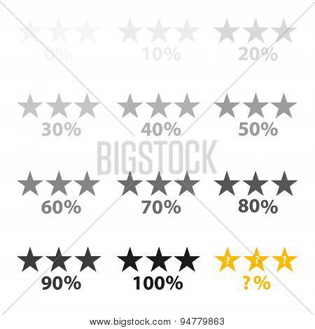 Stars Gray And Percentage For Rating And Reviews Eps10