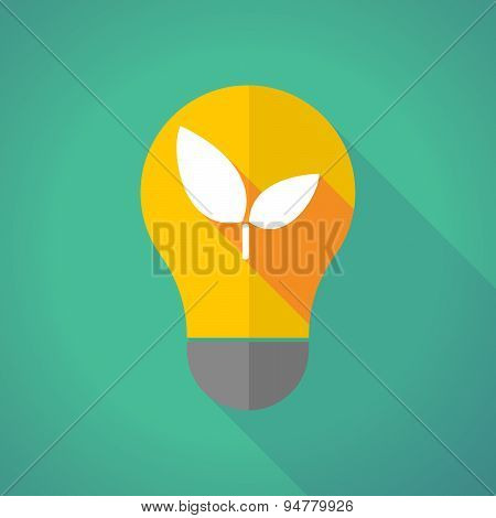 Long Shadow Light Bulb With A Plant