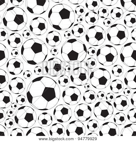 Soccer And Football Balls Seamless Black And White Pattern