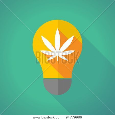 Long Shadow Light Bulb With A Marijuana Leaf
