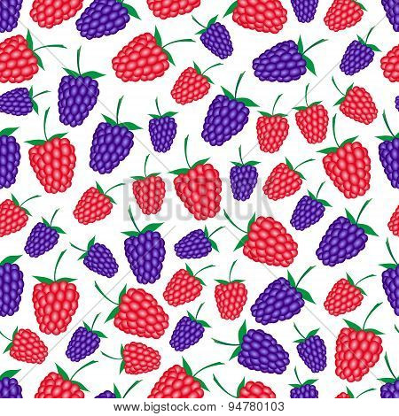 Raspberries And Blackberries Fruit Summer Seamless Pattern Eps10