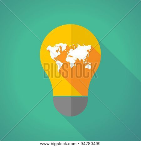 Long Shadow Light Bulb With A World Map