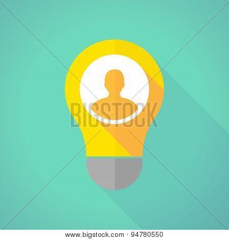 Long Shadow Light Bulb With A Male Avatar